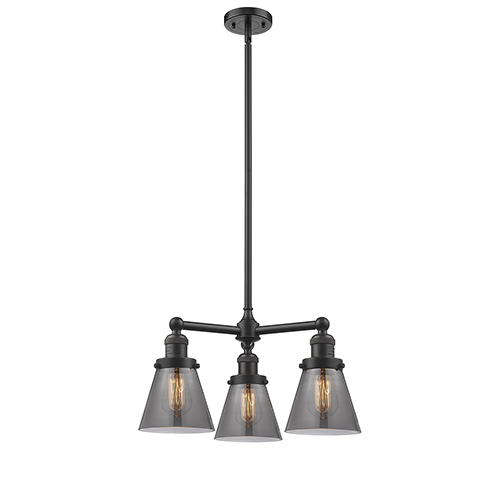 Innovations Lighting Small Cone Oiled Rubbed Bronze Three-Light LED Chandelier with Smoked Cone Glass