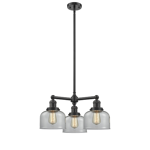 Innovations Lighting Large Bell Oiled Rubbed Bronze Three-Light Chandelier with Clear Dome Glass