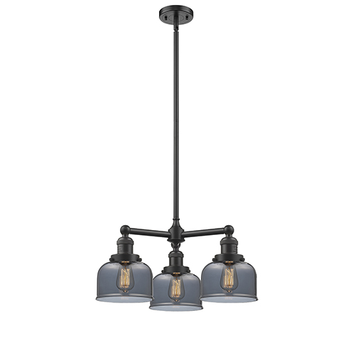 Innovations Lighting Large Bell Oiled Rubbed Bronze Three-Light Chandelier with Smoked Dome Glass