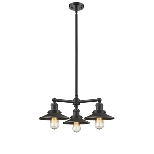 Railroad Oiled Rubbed Bronze Three-Light Chandelier