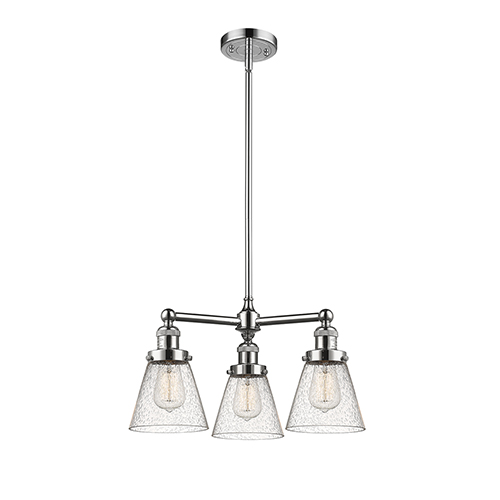 Innovations Lighting Small Cone Polished Nickel Three-Light Chandelier with Seedy Cone Glass