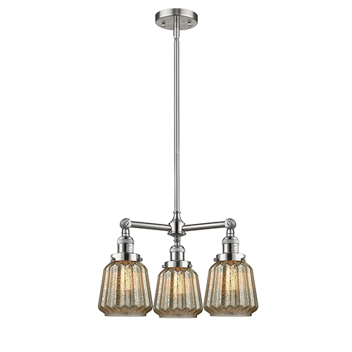 Chatham Brushed Satin Nickel Three-Light Chandelier with Mercury Fluted Novelty Glass