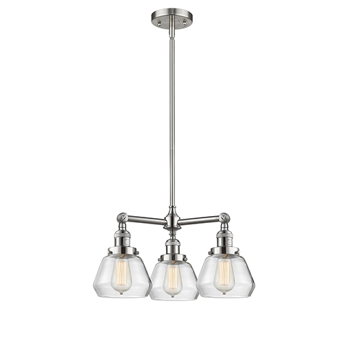 Innovations Lighting Fulton Brushed Satin Nickel Three-Light LED Chandelier with Clear Sphere Glass