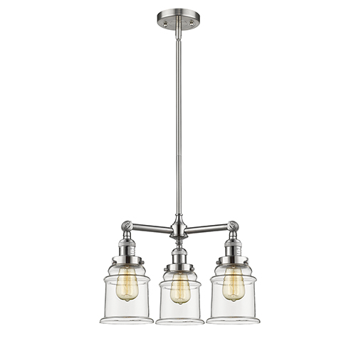 Canton Brushed Satin Nickel Three-Light Chandelier with Clear Bell Glass