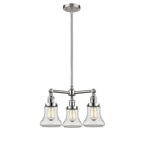 Innovations Lighting Bellmont Brushed Satin Nickel Three-Light Chandelier with Clear Hourglass Glass