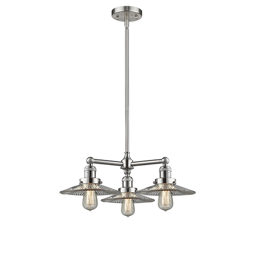 Innovations Lighting Halophane Brushed Satin Nickel Three-Light LED Chandelier with Halophane Cone Glass