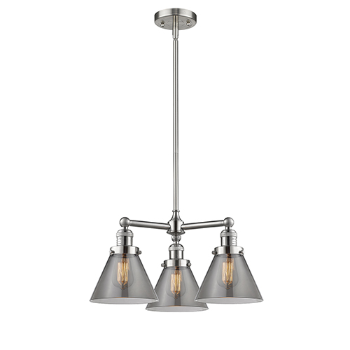 Large Cone Brushed Satin Nickel Three-Light Chandelier with Smoked Cone Glass