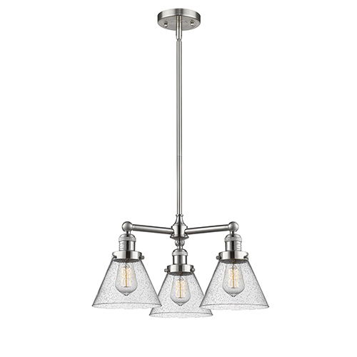 Innovations Lighting Large Cone Brushed Satin Nickel Three-Light Chandelier with Seedy Cone Glass