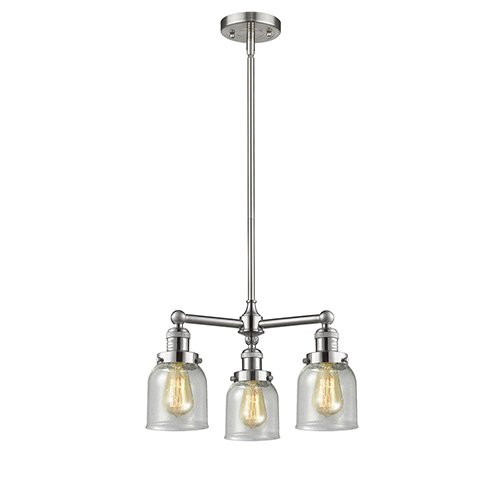 Innovations Lighting Small Bell Brushed Satin Nickel Three-Light Chandelier with Seedy Bell Glass