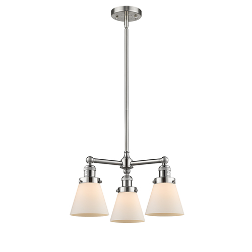Innovations Lighting Small Cone Brushed Satin Nickel Three-Light LED Chandelier with Matte White Cased Cone Glass