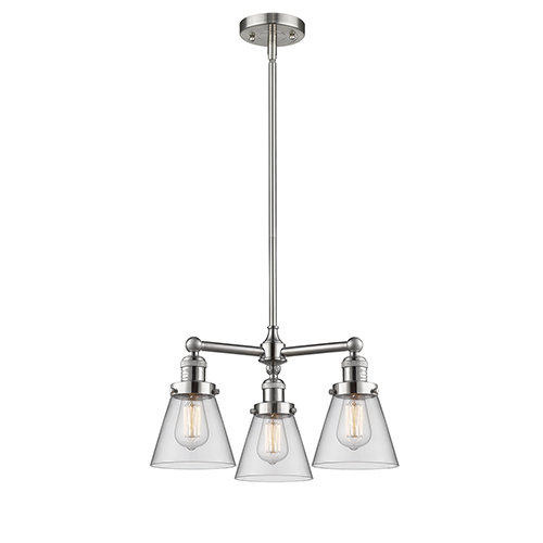 Innovations Lighting Small Cone Brushed Satin Nickel Three-Light Chandelier with Clear Cone Glass