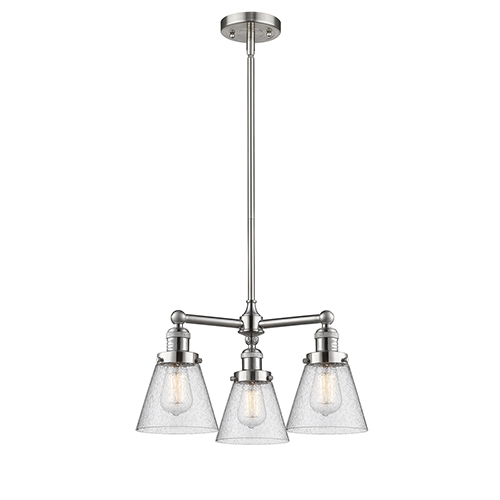 Innovations Lighting Small Cone Brushed Satin Nickel Three-Light LED Chandelier with Seedy Cone Glass