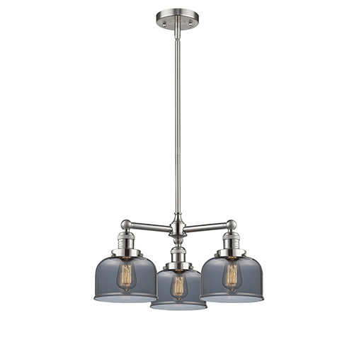 Large Bell Brushed Satin Nickel Three-Light LED Chandelier with Smoked Dome Glass