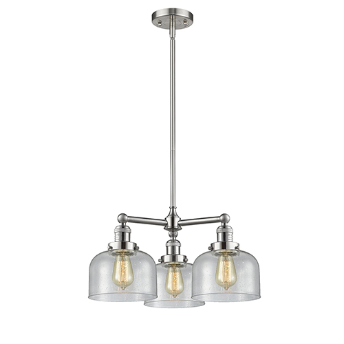 Innovations Lighting Large Bell Brushed Satin Nickel Three-Light Chandelier with Seedy Dome Glass