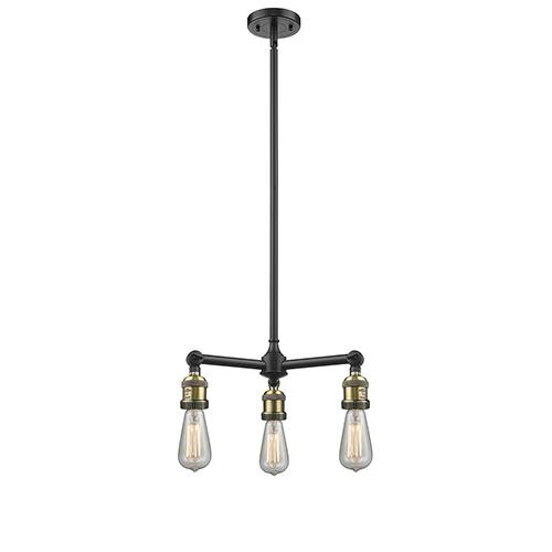 Bare Bulb Black Antique Brass Three-Light Chandelier