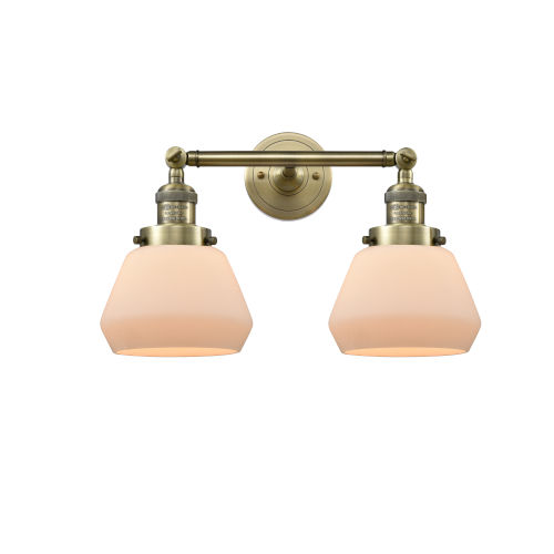 Fulton Antique Brass 3.5W Two-Light LED Bath Vanity with Matte White Cased Glass