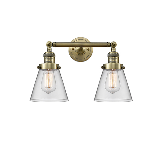 Innovations Lighting Small Cone Antique Brass Two-Light Bath Vanity with Clear Cone Glass
