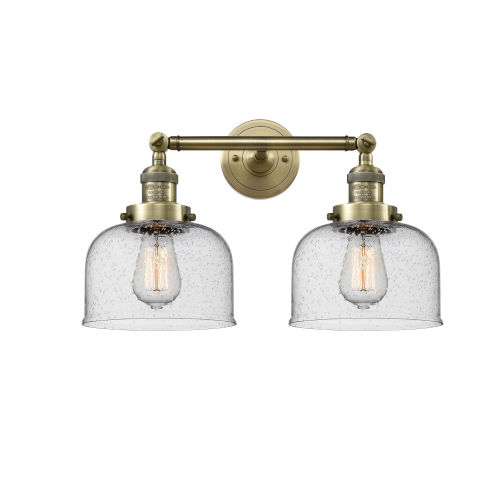 Large Bell Antique Brass 19-Inch Two-Light LED Bath Vanity