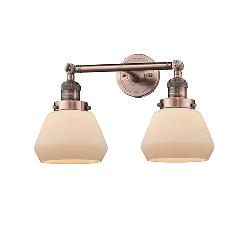 Innovations Lighting Fulton Antique Copper Two-Light Bath Vanity with Matte White Cased Sphere Glass