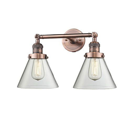 Innovations Lighting Large Cone Antique Copper Two-Light LED Bath Vanity with Clear Cone Glass