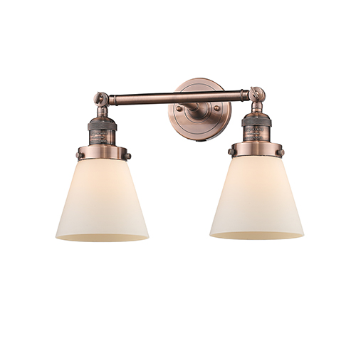 Innovations Lighting Small Cone Antique Copper Two-Light Bath Vanity with Matte White Cased Cone Glass