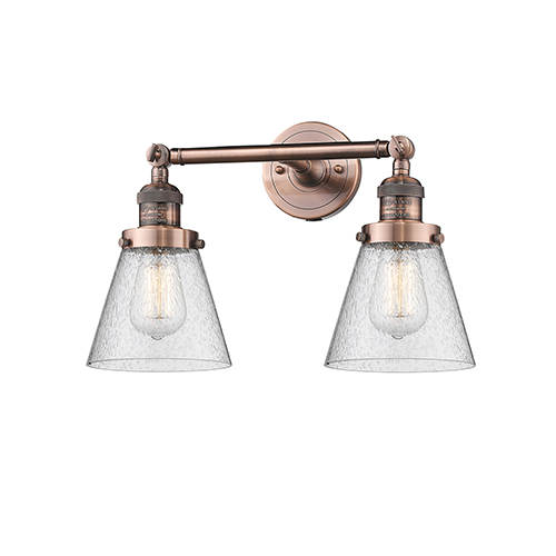 Innovations Lighting Small Cone Antique Copper Two-Light LED Bath Vanity with Seedy Cone Glass