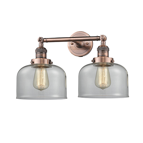 Large Bell Antique Copper Two-Light LED Bath Vanity with Clear Dome Glass