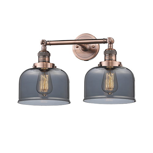 Innovations Lighting Large Bell Antique Copper Two-Light LED Bath Vanity with Smoked Dome Glass