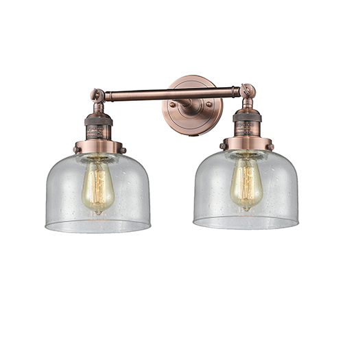 Innovations Lighting Large Bell Antique Copper Two-Light Bath Vanity with Seedy Dome Glass