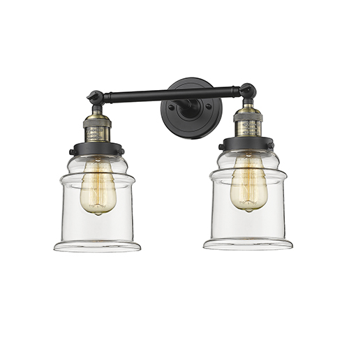 Innovations Lighting Canton Black Antique Brass 17-Inch Two-Light LED Bath Vanity with Clear Bell Glass