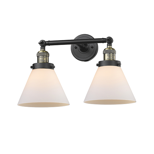 Innovations Lighting Large Cone Black Antique Brass 18-Inch Two-Light Bath Vanity with Matte White Cased Cone Glass