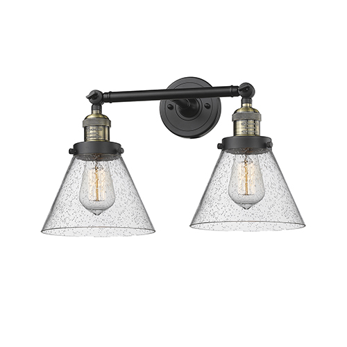 Innovations Lighting Large Cone Black Antique Brass 18-Inch Two-Light LED Bath Vanity with Seedy Cone Glass