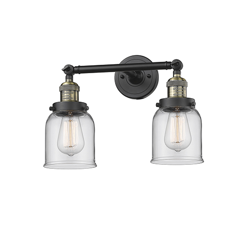 Innovations Lighting Small Bell Black Antique Brass 16-Inch Two-Light LED Bath Vanity with Clear Bell Glass