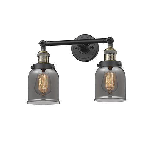 Innovations Lighting Small Bell Black Antique Brass 16-Inch Two-Light LED Bath Vanity with Smoked Bell Glass
