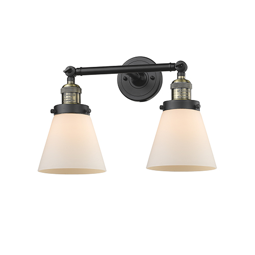 Innovations Lighting Small Cone Black Antique Brass 16-Inch Two-Light Bath Vanity with Matte White Cased Cone Glass