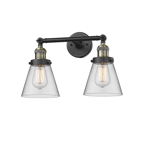Innovations Lighting Small Cone Black Antique Brass 16-Inch Two-Light Bath Vanity with Clear Cone Glass