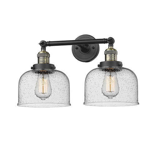 Innovations Lighting Large Bell Black Antique Brass 19-Inch Two-Light LED Bath Vanity with Seedy Dome Glass