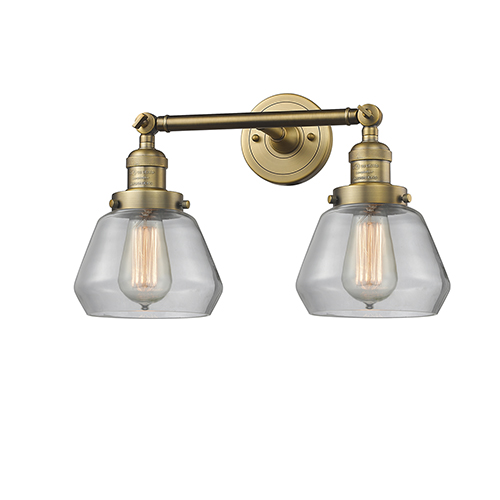 Innovations Lighting Fulton Brushed Brass Two-Light Bath Vanity with Clear Sphere Glass