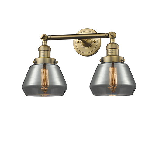 Innovations Lighting Fulton Brushed Brass Two-Light LED Bath Vanity with Smoked Sphere Glass