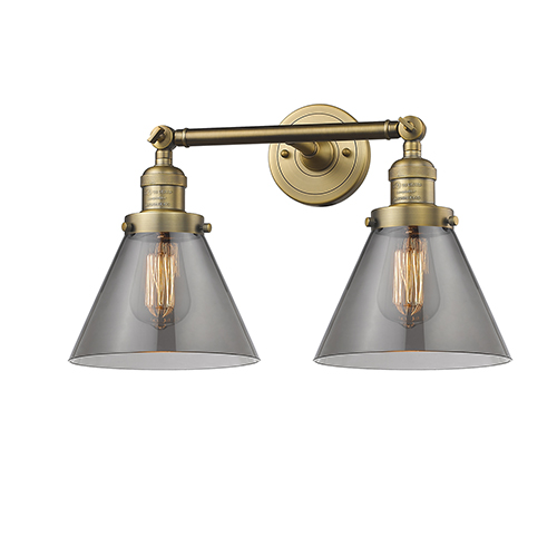 Large Cone Brushed Brass Two-Light Bath Vanity with Smoked Cone Glass