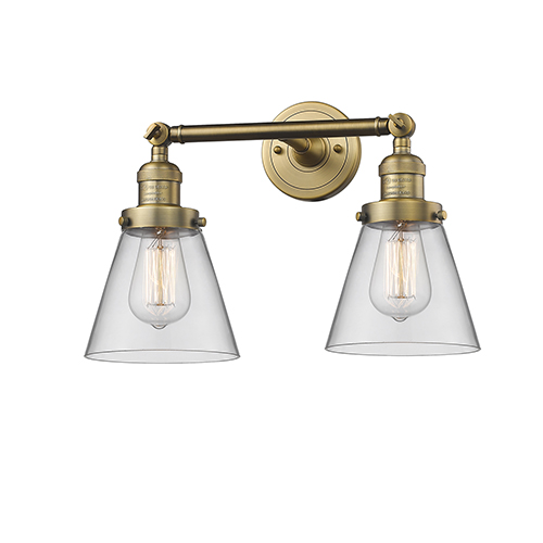 Innovations Lighting Small Cone Brushed Brass Two-Light Bath Vanity with Clear Cone Glass