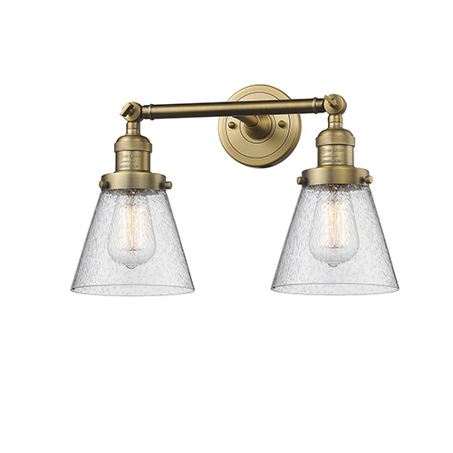 Innovations Lighting Small Cone Brushed Brass Two-Light Bath Vanity with Seedy Cone Glass