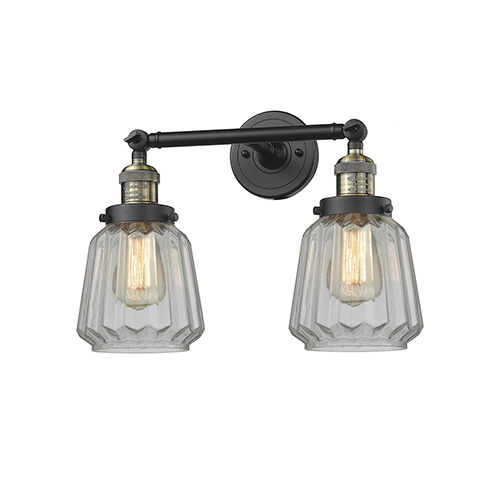 Innovations Lighting Chatham Black Brushed Brass Two-Light LED Bath Vanity with Clear Fluted Novelty Glass
