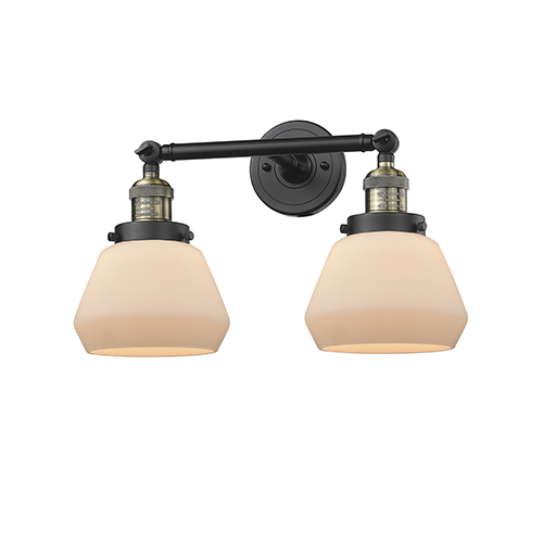 Innovations Lighting Fulton Black Brushed Brass Two-Light Bath Vanity with Matte White Cased Sphere Glass
