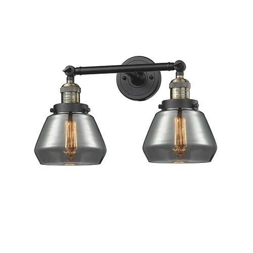 Innovations Lighting Fulton Black Brushed Brass Two-Light Bath Vanity with Smoked Sphere Glass