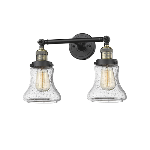 Innovations Lighting Bellmont Black Brushed Brass Two-Light LED Bath Vanity with Seedy Hourglass Glass