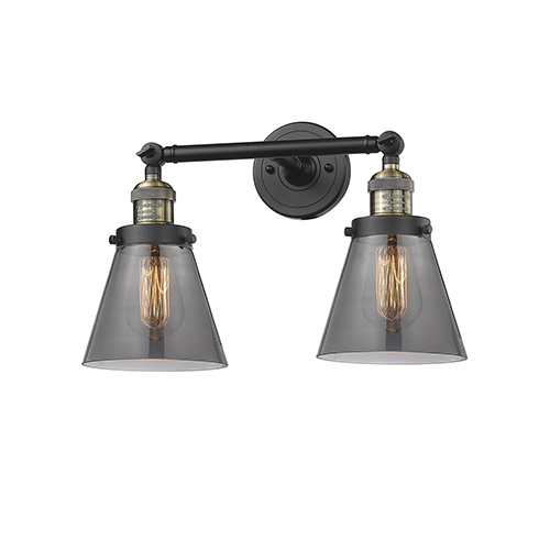 Innovations Lighting Small Cone Black Brushed Brass Two-Light LED Bath Vanity with Smoked Cone Glass