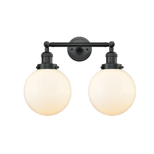 Franklin Restoration Matte Black 19-Inch Two-Light LED Bath Vanity with Matte White Glass Shade