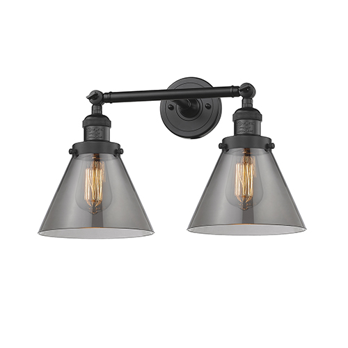 Innovations Lighting Large Cone Black 18-Inch Two-Light Bath Vanity with Smoked Cone Glass