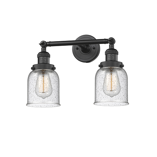 Innovations Lighting Small Bell Black 16-Inch Two-Light Bath Vanity with Seedy Bell Glass